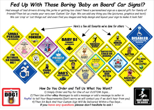 Traditional Yellow Baby On Board Car Sign Baby On Board Sign Baby in Car Sign