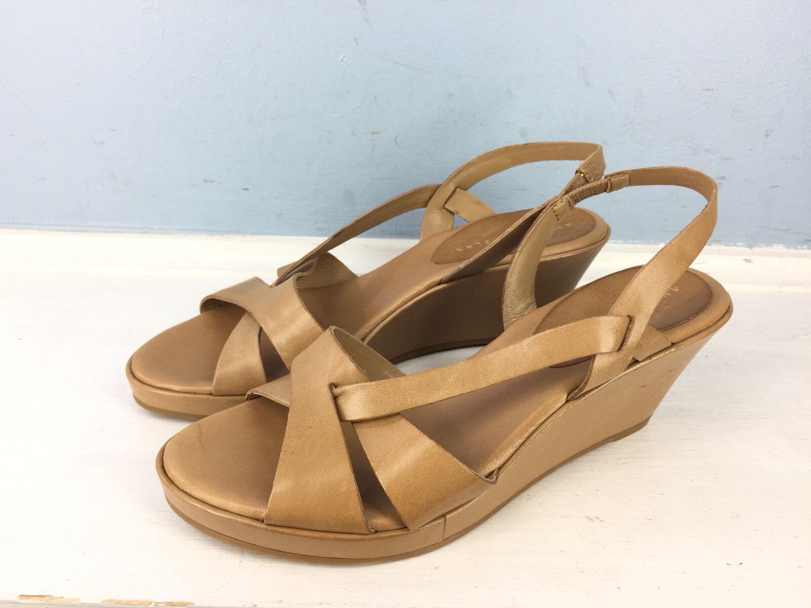 New Antonio Melani 6 Tan Brown Low wedge Sandals heels Slingback Career Cocktail