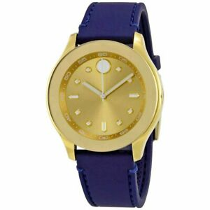 Movado 3600413 女大膽瑞士石英表鍍金表盤表帶手表