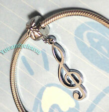 Silver Charm Bead Stopper Lock Clip fits Authentic European bracelet Music Sign