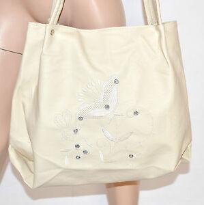 Donna 144 Avorio Pelle Bag Tracolla Shopper Eco Maxi Panna Sac Borsa Cristalli ZqUfd74wZ