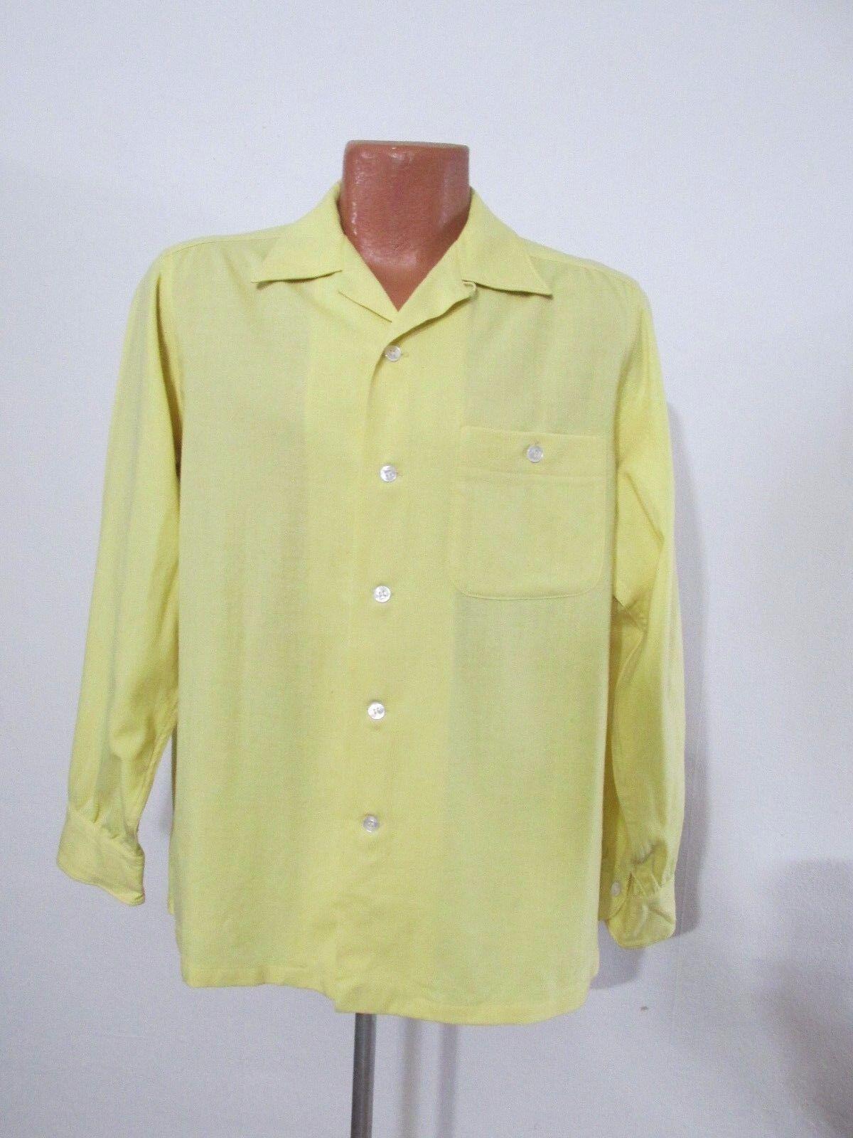 Sir Pendleton Shirt Yellow Wool  Antique 1960's USA  Shirt Men's Med Inv v6666