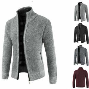 Warm-Thicken-Coat-Sweater-Pullover-Men-039-s-Zipper-Casual-Winter-Knitwear