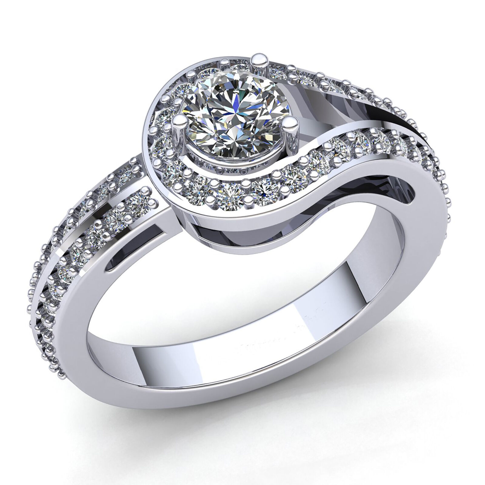 1ctw Round Cut Diamond Ladies Bridal Accent Solitaire Engagement Ring 14K gold