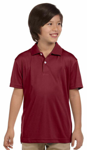 Harriton Boys New Polyester Wicking Rib Collar Short Sleeve Polo T-Shirt M353Y