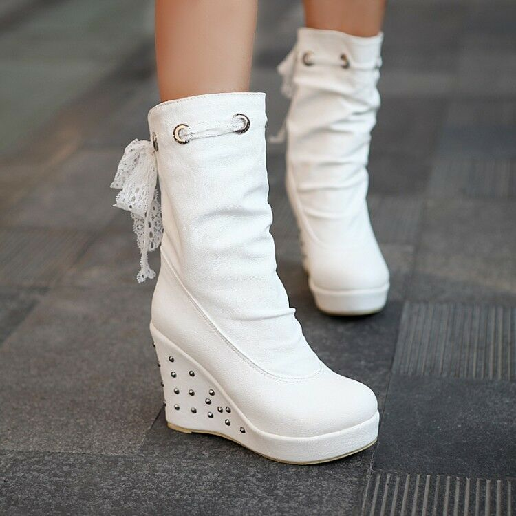 New Womens Fashion Sweet Rivet Round Toe Wedge High Heels Pull On Mid Calf Boots