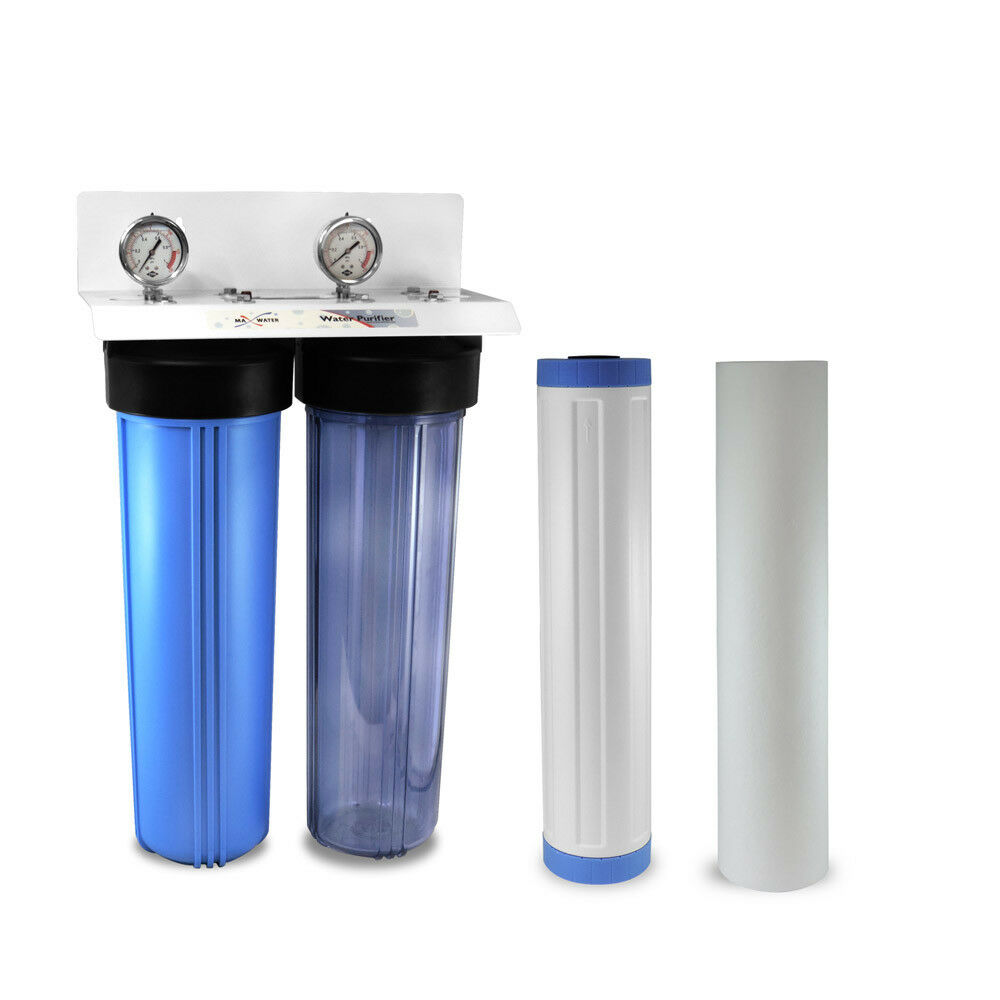 20 x4.5  Big bluee two Stage Whole House Water Filter System, 3 4  in out Ports