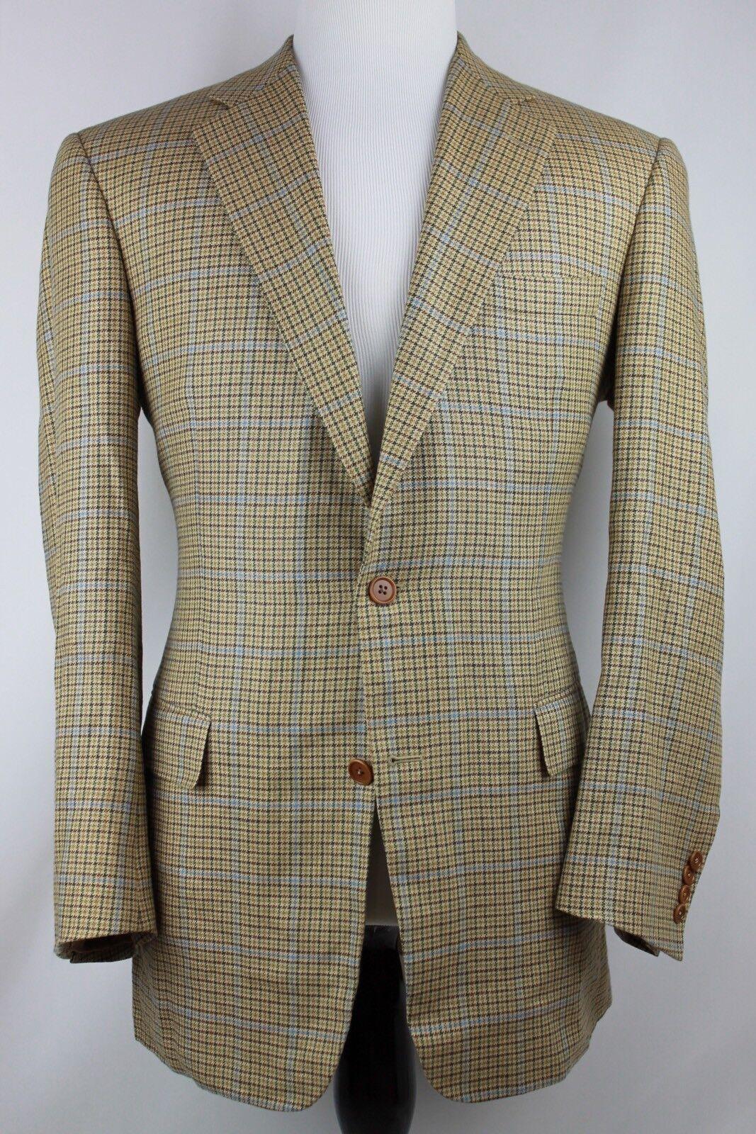 Brooks Bredhers 1818 Madison Baby bluee gold Linen Wool Glen Plaid Tweed SC 41r