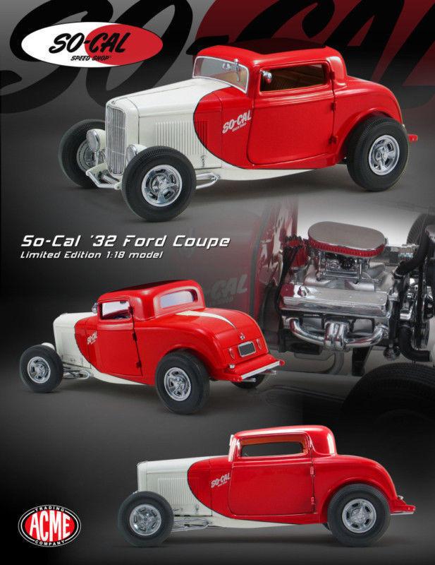 1:18 Gmp - 1932 Ford 3 Ventana Coupé So-Cal RedBlanco - el Martillo