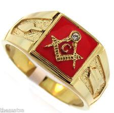MASON MASONIC SCARLET RED GOLD CLEAR MASON RING SIZE 9 10 11 12 13 14