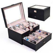 Watch Holder 20 Slot Leather Box Display Case Organizer Glass Jewelry Storage