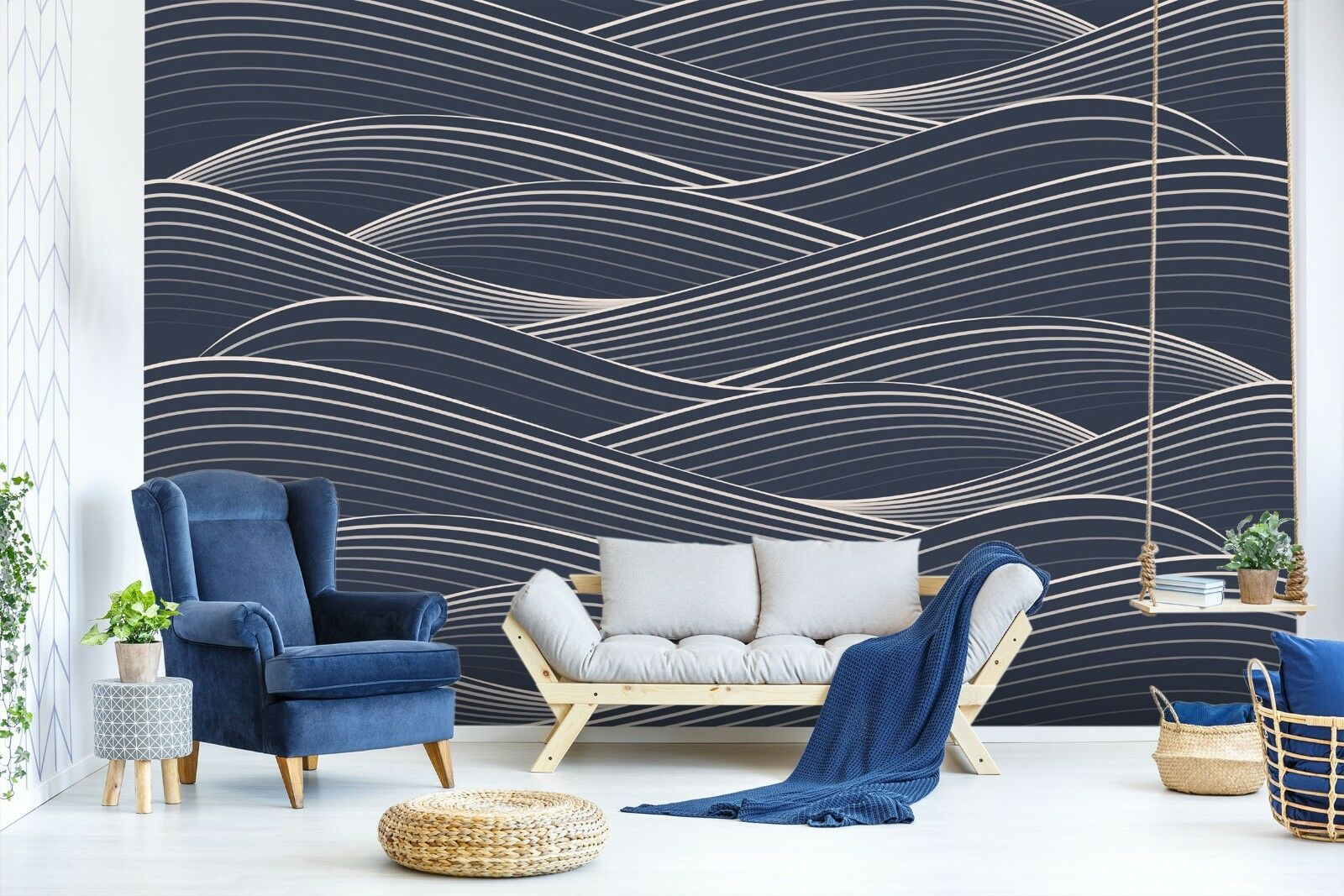 3D Waves Line 7051 Wallpaper Mural Paper Wall Print Indoor Murals CA Summer