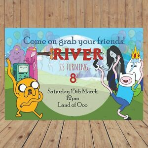 Details About Personalised Adventure Time Party Birthday Invites Invitations Digital You Print