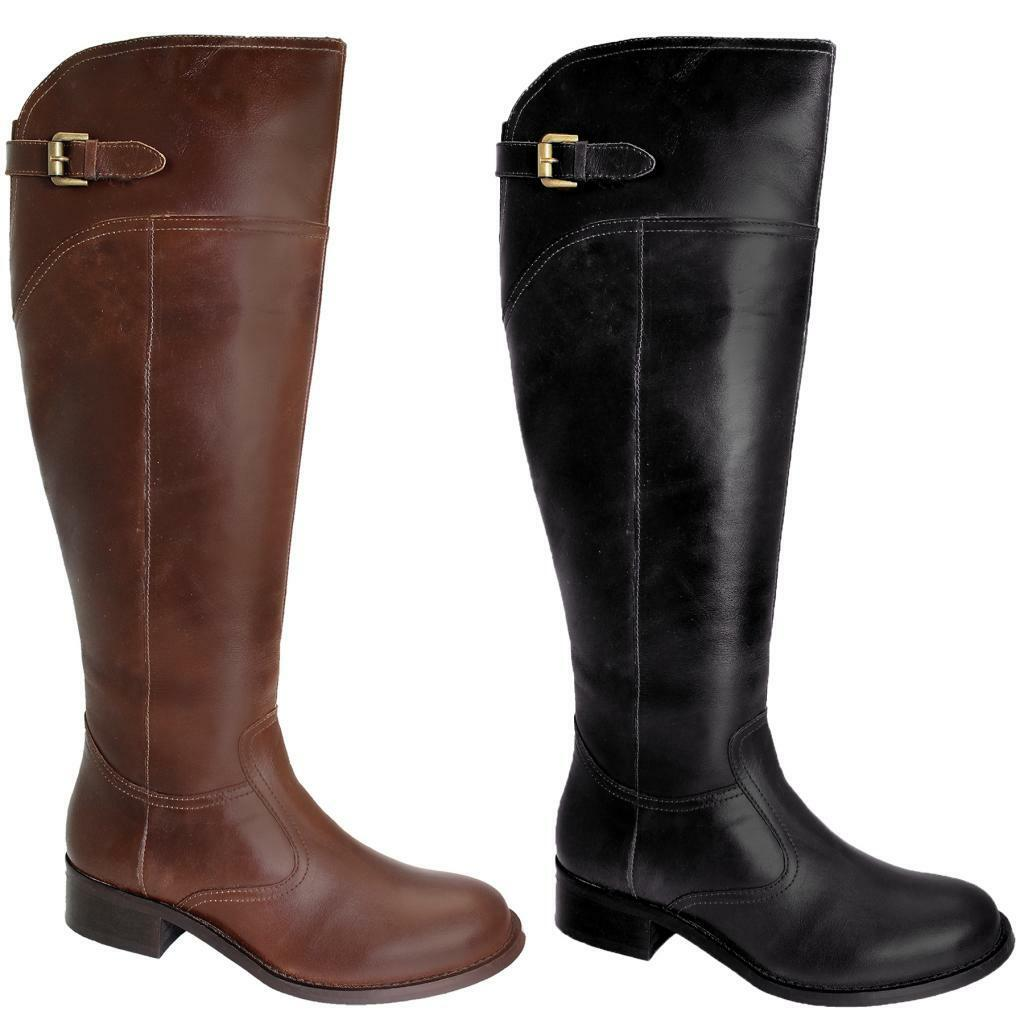 Women's Small Heel Riding Style shoes Ladies Knee High Genuine Leather Boots