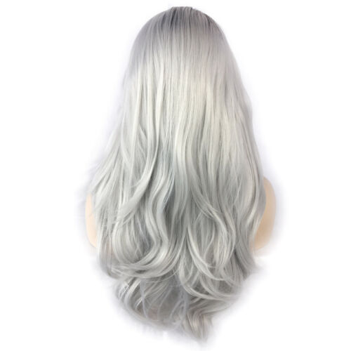 Wiwigs Ombre 2 Tones Lace Front Wig Straight Brown Roots Long Blonde,Silver Hair
