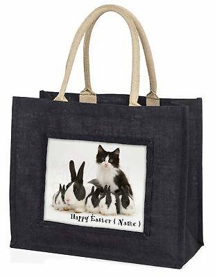personalisiert Ostern Kaninchen + Katze große schwarze Einkaufstasche Christmas