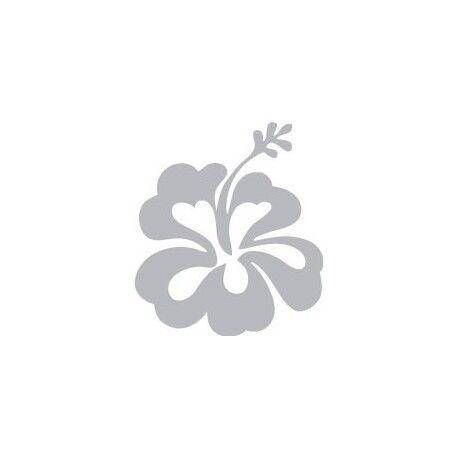 Hibiscus fleur autocollant sticker gris 9,5 x 8,5 cm