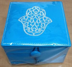 ETHNIC-JEWELRY-BOX-TURQUOISE-BLUE-SQUARE-LEATHER-NEW-FROM-MARAKESH-MOROCCO