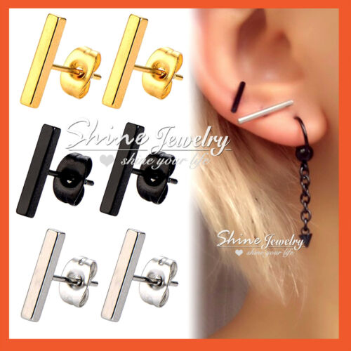 Titanium Minimalist Steel Silver Line Stick Mens Ladies Girls Bar Stud Earrings