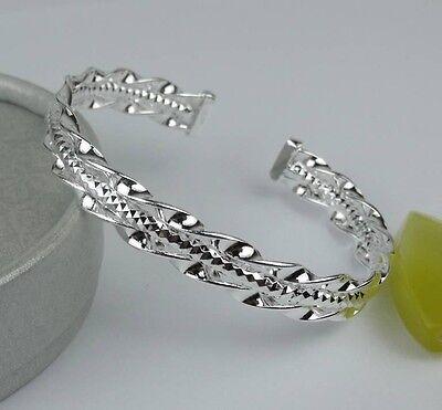 New 925 Silver Women fashion jewelry 2-Twist line cuff Bracelet Bangle