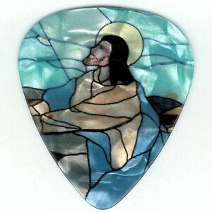4-Pack-Picks-JESUS-Religious-STAINED-GLASS-Church-Medium-Guitar-Pick-Love-Pray