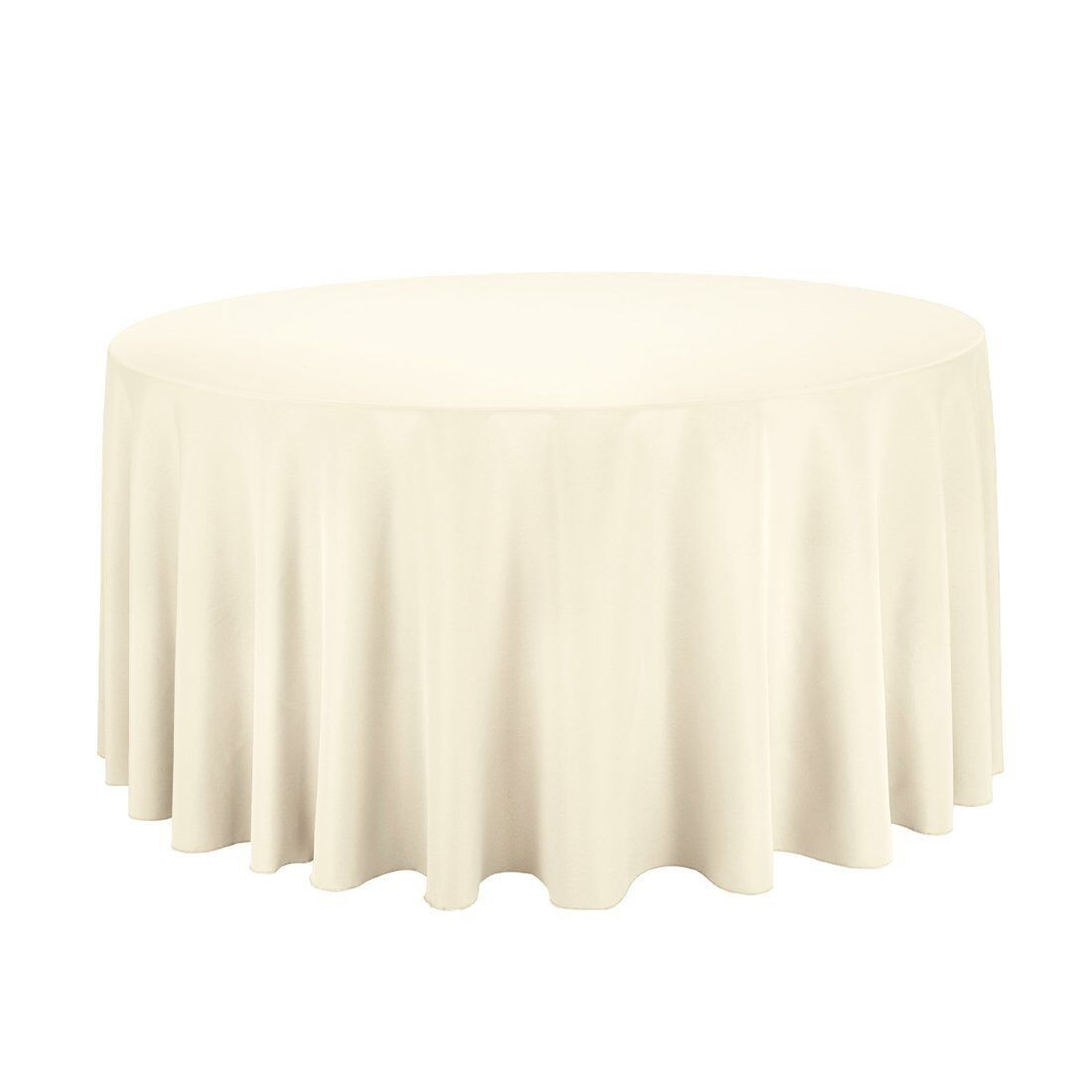 10 pcs 108  Ivory Round Polyester Tablecloth Bulk for Weddings Party
