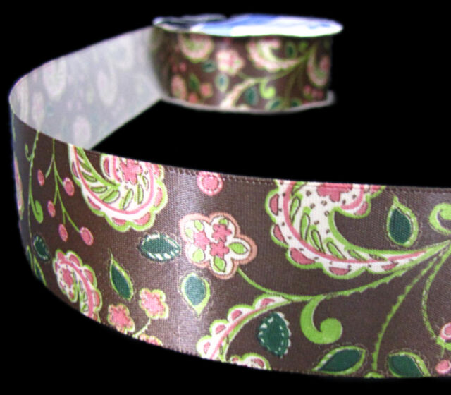"Paisley 1.5/"" Printed Grosgrain Ribbon 25 yards for Crafts decor Choose Colors"