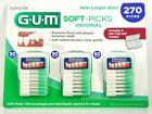 GUM Soft-Picks Sunstar 270 Picks 3 Travel Cases Rubber Bristles Tooth Picks
