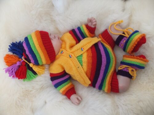 """PAPER KNITTING PATTERN TO MAKE /'SING A RAINBOW/"""" IN 3 SIZES FOR BABIES AND DOLLS"""