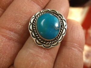 #110 of 245, NICE VTG LADIES/GIRLS STERLING SILVER & BLUE TURQUOISE RING, SIZE 5