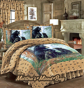 Bear cub bedding hunting lodge cabin wild life 4 5pc for Wild bedding
