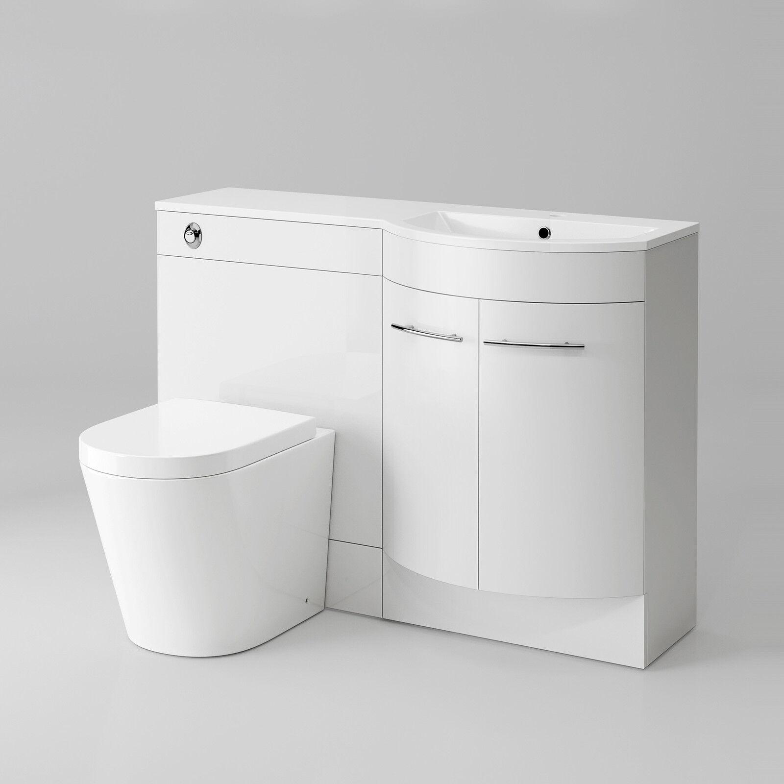 Right Hand Modern Bathroom Gloss White Basin Toilet