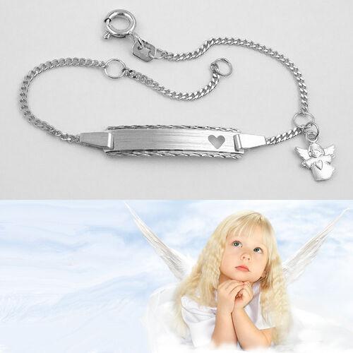 Weiß Gold 585 Baby Taufe Schutz Engel Herz Ident Armband mit Gravur Name Datum