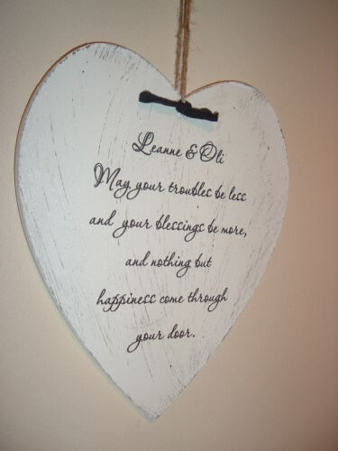 New home sign personalised plaque shabby vintage chic heart
