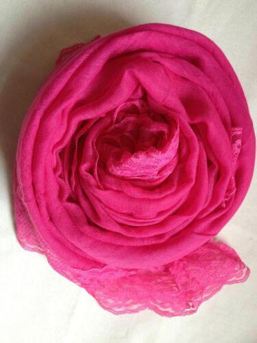 Alla Moda Tinta Unita Maxi l/'hijab sciarpa CON PIZZO-Molti Colore inserzione! NUOVO