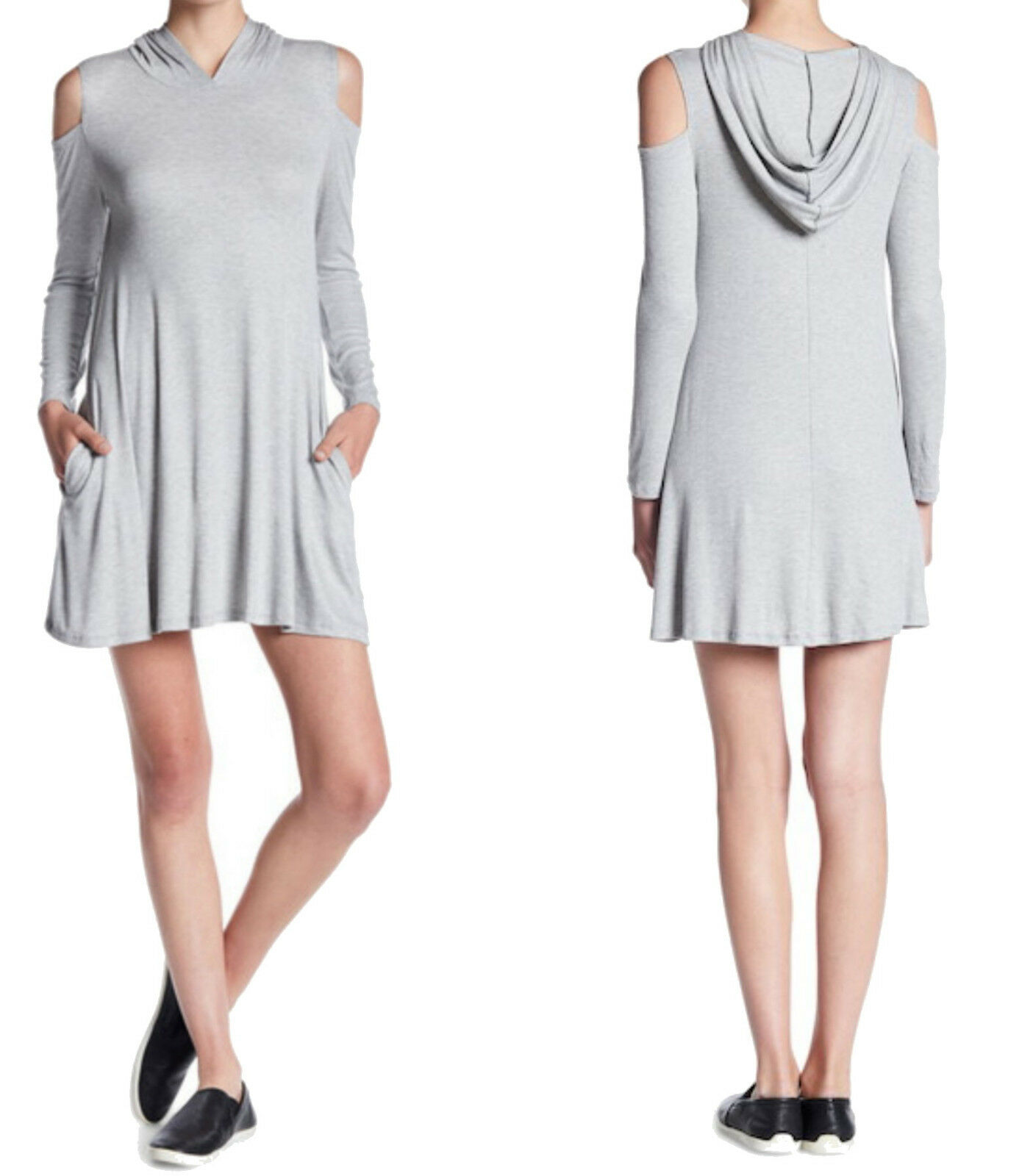 Elan Cold Shoulder Hoodie Dress Medium 6 8 grau 2 Pockets Long Sleeve Shift NWT