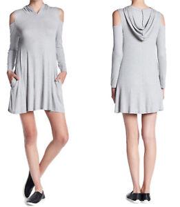 237a6615cab Elan Cold Shoulder Hoodie Dress Medium 6 8 Grey 2 Pockets Long ...