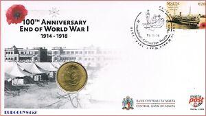 MALTA -  5 € 2014 BU + POSTZEGEL 2 € - 100e VERJAARDAG EINDE W.O. I - 11-11-18