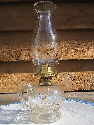 Antique EAPG 1870s Atterbury Shell Finger OilKero Lamp #1 Burner ChimneyComplete