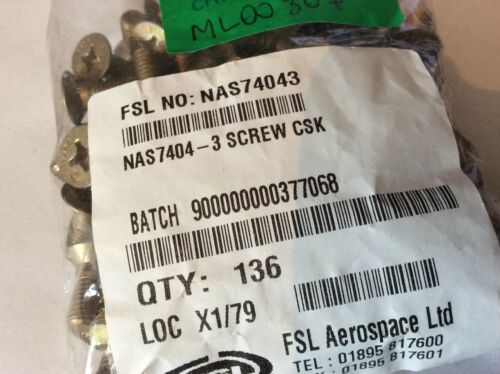 """PS//3 NOS 1//4"""" UNF Countersunk Cross Recessed Bolt NAS7404-3 qty 10"""