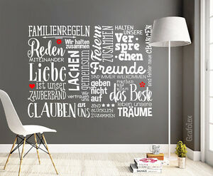 wandtattoo familienregeln familie spr che zuhause ist liebe wand tattoo ws171a ebay. Black Bedroom Furniture Sets. Home Design Ideas