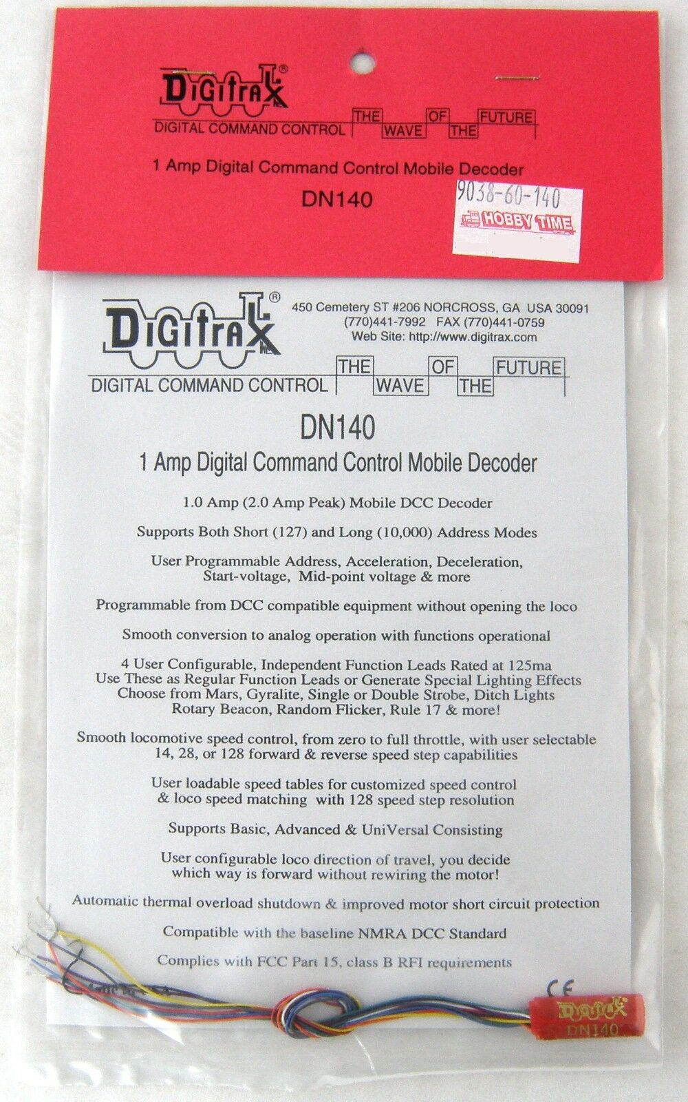 Digitrax DN140 DCC Mobile Decoder (1 Amp)