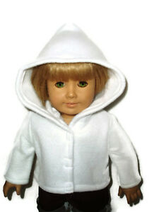 White-Fleece-Hoodie-Jacket-18-034-doll-clothes-fits-American-Girl-dolls