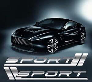 sport bmw mercedes audi sport car aufkleber 2 stk chrom. Black Bedroom Furniture Sets. Home Design Ideas