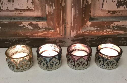 Coloured Vintage Mercurised Glass Tea Light Candle Holders Antique Silver Table