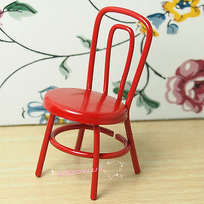 Dollhouse Miniature Living Room 1:12 Metal Red Sewing Machine Chair H17R