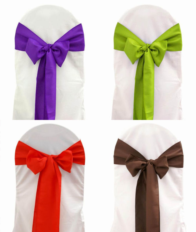 200 Polyester Chair Cover Sash Bows 23 Couleurs Made USA Wedding Party Event Decor