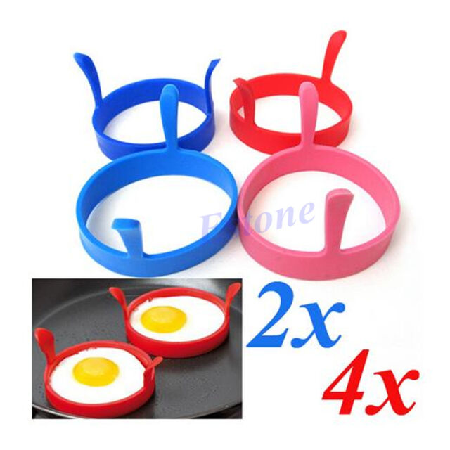 Lot Of Silicone Kitchen Egg Fry Frier Fried Oven Poacher Pancake Mould Tool New