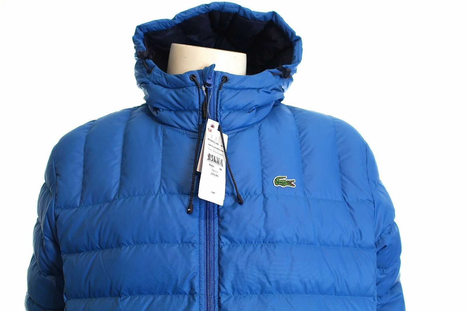 LACOSTE BH2533 Herren Blau HOODED DOWN PADDED QUILTED JAKET SIZE L / XL