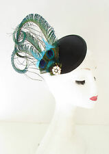 Green Black Peacock Feather Fascinator Headpiece Races Hair Clip Vintage 20s A26